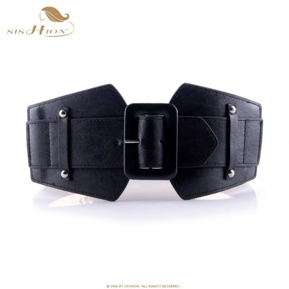 SISHION Vintage Wide Belts for Women Famous Brand Designer Elastic Party Belts Women's Red Camel Black Costume Belts VB0007 2