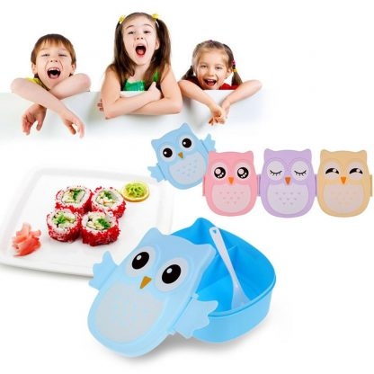 Cute Cartoon Owl Lunch Box Food Container Storage Box Portable Kids Student Lunch Box Bento Box Container With Compartments Case 3