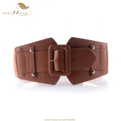 SISHION Vintage Wide Belts for Women Famous Brand Designer Elastic Party Belts Women's Red Camel Black Costume Belts VB0007 3