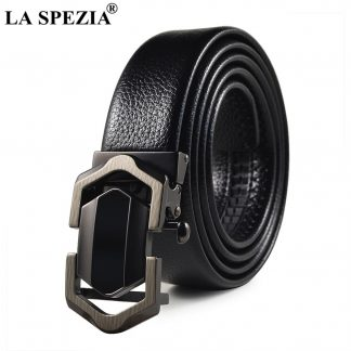 LA SPEZIA Leather Belt Men Black Automatic Belts No Holes Male Business Office PU Leather Classic Brand Designer Suit Belts