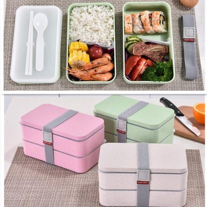 1200ml Wheat Straw Double Layers Lunch Box With Spoon Healthy Material Bento Boxes Microwave Food Storage Container Lunchbox 5