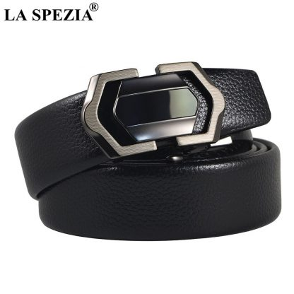 LA SPEZIA Leather Belt Men Black Automatic Belts No Holes Male Business Office PU Leather Classic Brand Designer Suit Belts 2