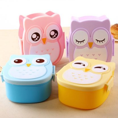 Cute Cartoon Owl Lunch Box Food Container Storage Box Portable Kids Student Lunch Box Bento Box Container With Compartments Case 2