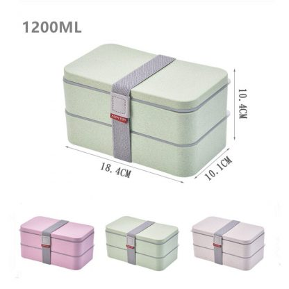 1200ml Wheat Straw Double Layers Lunch Box With Spoon Healthy Material Bento Boxes Microwave Food Storage Container Lunchbox 4