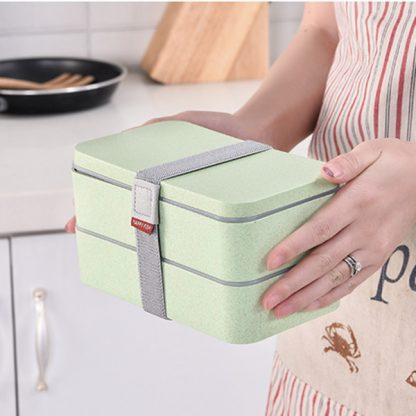 1200ml Wheat Straw Double Layers Lunch Box With Spoon Healthy Material Bento Boxes Microwave Food Storage Container Lunchbox 3