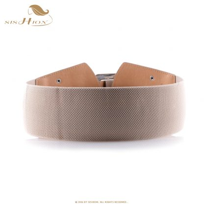 SISHION Vintage Wide Belts for Women Famous Brand Designer Elastic Party Belts Women's Red Camel Black Costume Belts VB0007 1