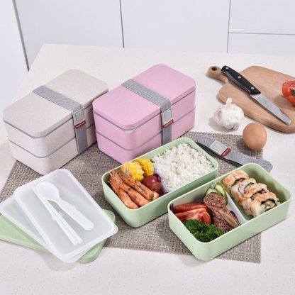 1200ml Wheat Straw Double Layers Lunch Box With Spoon Healthy Material Bento Boxes Microwave Food Storage Container Lunchbox 1