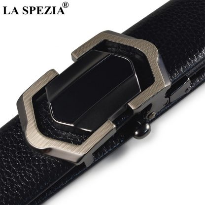 LA SPEZIA Leather Belt Men Black Automatic Belts No Holes Male Business Office PU Leather Classic Brand Designer Suit Belts 4