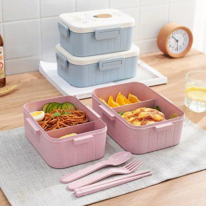 TUUTH Cute Cartoon Lunch Box Microwave Dinnerware Food Storage Container Children Kids School Office Portable Bento Box 1