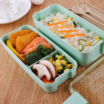 900ml Healthy Material Lunch Box 3 Layer Wheat Straw Bento Boxes Microwave Dinnerware Food Storage Container Lunchbox 3