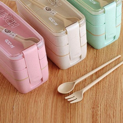 900ml Healthy Material Lunch Box 3 Layer Wheat Straw Bento Boxes Microwave Dinnerware Food Storage Container Lunchbox 1