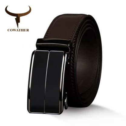 COWATHER New Arrival  cow genuine leather men's belt cowhide strap for male automatic buckle belts for men alloy buckle belts 1